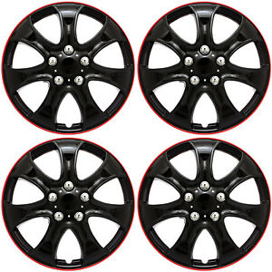 set Of 4 Piece 15 Inch Ice Black Red Trim Hub Caps Wheel Covers Cap Covers