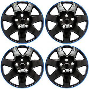 4 Piece Set 15 Inch Ice Black Blue Trim Hub Caps Wheel Covers Cap Covers
