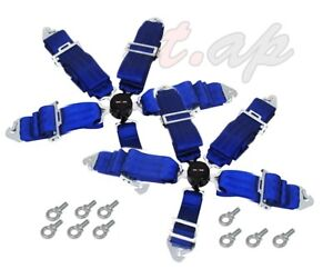 Godsnow 2x Two 5 Point Racing Safety Harness Camlock 3 Steap Seat Belt Blue