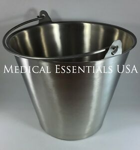 Stainless Steel Bucket Pail 13 Qt Quart Heavy Duty Medical Mri Durable