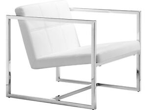 Modern Contempororary Office Guest Chair In White Leatherette Lounge Furniture