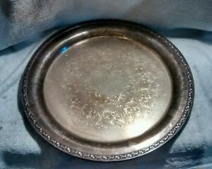 Oneida Silversmiths Silverplated Brass Tray Silver Plated Dish Platter Plate