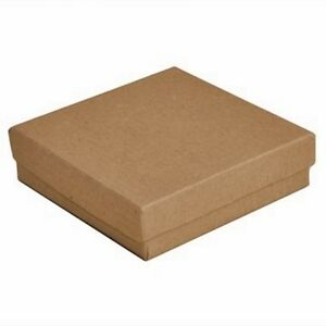 100 Kraft Brown Cotton Filled Jewelry Packaging Gift Boxes 3 1 2 X 3 1 2 X 1