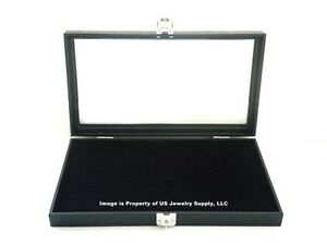 Key Lock Locking Glass Top Lid 72 Ring Black Jewelry Display Box Storage