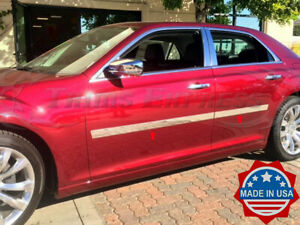 Fit 2005 2010 Chrysler 300 300c 4pc Stainless Flat Body Side Molding Trim 2