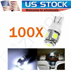 100x White T10 5050 5 Smd Wedge Led Bulbs Car Instrument Gauge Dash Light Lamps