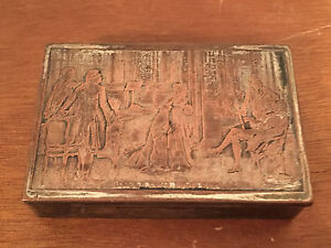 Vintage Silver On Copper Small Dresser Box Or Humidor Salon Sous Louis Xvi Dec