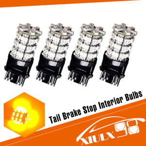 4x 3157 3156 60smd Amber Yellow Led Light Bulbs Tail Brake Stop 12v 4300k 3528