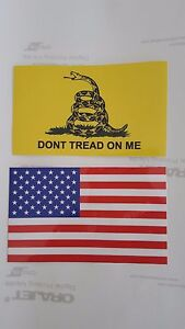 Dont Tread On Me Gadsden And Usa Flag Vinyl Decal Sticker 5 X 3 Set Of 2