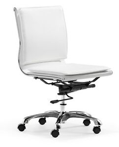 Ergonomic Shape White Armless Office Chair W padded Back Adjustable Height