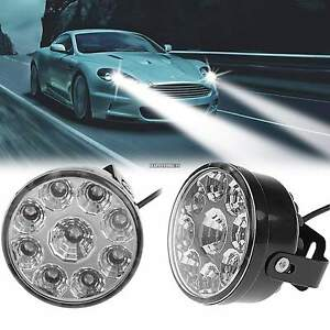 2 X 27w Round 9 Led Day Work Light Bar Spot Suv Atv Driving Fog Head Lamp