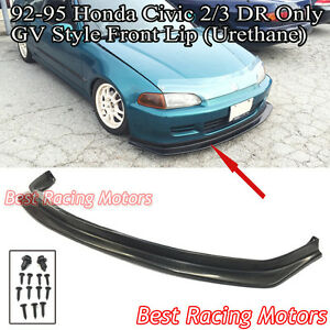 Gv Style Front Bumper Lip urethane Fits 92 95 Honda Civic 2dr