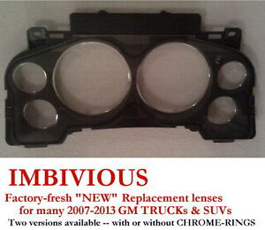 Gmc 2007 2013 New Instrument Cluster Replacement Lens With Chrome Rings