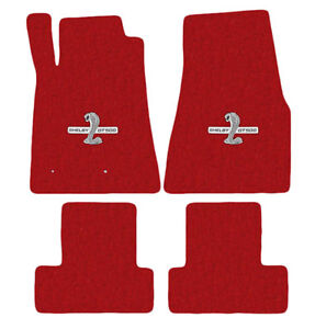 New 2005 2010 Ford Mustang Red Floor Mats Shelby Gt500 Logo Set Of 4 Carpet