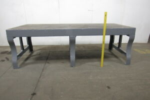 Heavy Duty Vintage Cast Iron Fabrication Welding Layout Work Table 108 x47 x35