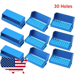 10 Pcs 30 Holes Opening Dental Burs Holder Disinfection Aluminum Endo Block Box