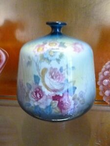 Antique Royal Bonn Germany Hand Painted Vase Aqua Pink Roses