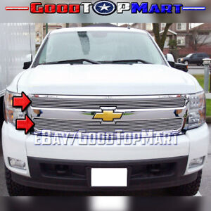 For Chevy Silverado 1500 2007 2012 2013 Upper Main Polished Overlay 2pc Grille