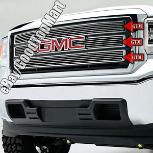 For 2014 2015 14 15 Gmc Sierra 1500 Upper Main Polished Grille 4pc Logo Show