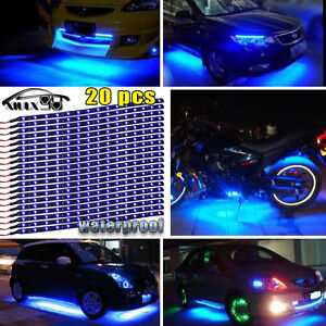 20x Blue 15led 12 Flexible Light Strip For Car Boat Truck Drl Waterproof Dc12v