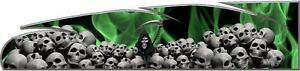 Green Grim Reaper Skulls Flame Go Kart Race Car Vinyl Graphic Decal Wrap