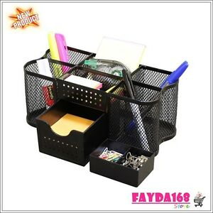 Mesh Storage Organizer Desk Desktop Office Supplies Card Pencil Pen Holder Tray