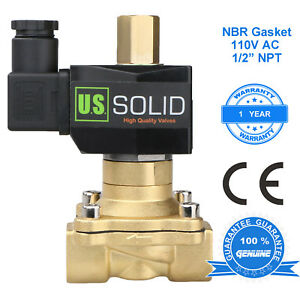 U S Solid 1 2 Brass Electric Solenoid Valve 110v Ac Normally Open Nbr