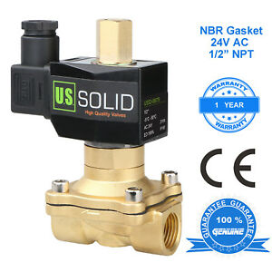 U S Solid 1 2 Brass Electric Solenoid Valve 24v Ac Normally Open Nbr