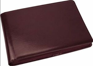 7 Ring Business Check Binder 3 on a page Zippered Leather Look Vinyl burgundy