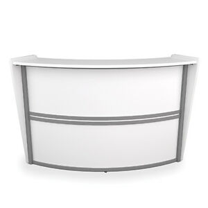 Contemporary Reception Station Desk In White Finish With Silver Frame Accent