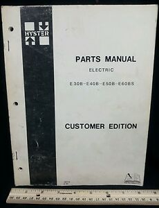 To 1980 Hyster E30b E40b E50b E60bs Electric Fork Lift Truck Parts Manual Book