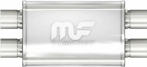 Magnaflow 11379 Muffler Stainless Steel 2 5 Id Dual In Dual Out 4 X 9 Oval 17 Lg