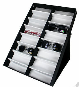 Vertical Portable 16 Pair Sunglasses Glasses Covered Display Tray Box Standup