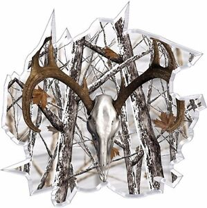 Snow Winter Camouflage Deer Skull Hunting Ripped Vinyl Graphic Decal