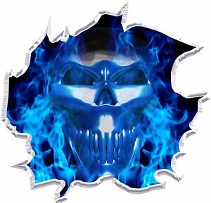 Ripped Flaming Skull Race Car Go Kart Motorcycle Vinyl Graphic Decal