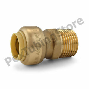 25 1 2 Sharkbite Style Push fit X 1 2 Mnpt Lf Brass Male Threaded Adapters