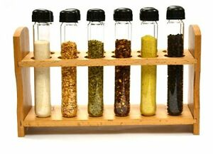 Hand Made Test Tube Spice Rack Wooden Rack With 12 Borosilicate Glass Test Tube