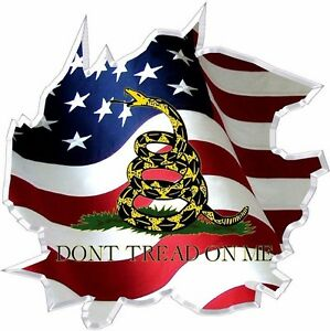 Vinyl Graphic Decal Ripped American Flag Gadsden Dont Tread On Me