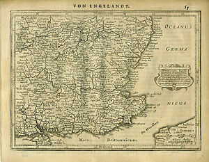 1651 Genuine Antique Map Of Southeast England Mercator Jansson