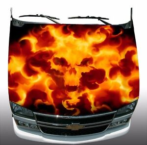 Skull Flame Fire Hood Wrap Wraps Sticker Vinyl Decal Graphic