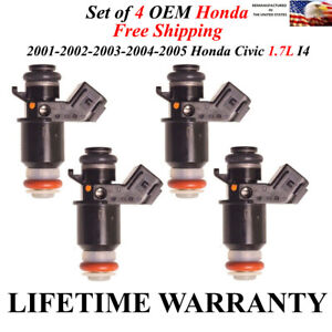 Genuine Honda 4x Fuel Injectors For 01 02 03 04 05 Honda Civic 1 7l Lx Ex Cx Hx