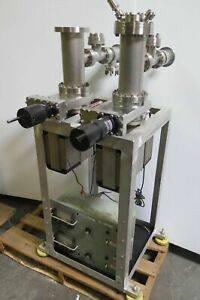 Two 4 Stainless Steel Vacuum Chambers Ion Pumps Gate Valves Gv 4000v 05