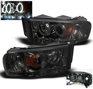 2002 2005 Dodge Ram 1500 2003 2005 2500 3500 Smoke Projector Halo Led Headlights