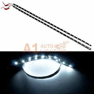 2x New 60cm 24 White Led Strip Footwell Under Dash Light Waterproof Exterior