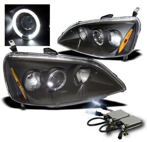 2001 2003 Honda Civic Dx Ex Gx Hx Lx Black Halo Projector Headlights W 8000k Hid