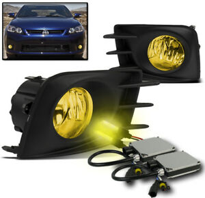 2011 2012 2013 Scion Tc Yellow Bumper Driving Fog Light Lamp harness W 3000k Hid