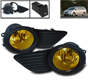 11 17 Toyota Sienna Lower Bumper Yellow Driving Fog Lights Lamp W harness switch