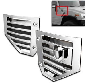 2006 2007 2008 2009 Hummer H2 Suv Chrome Front Side Vent Cover Hood Overlay Pair