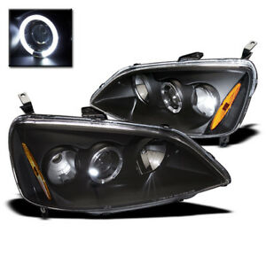 2001 2003 Honda Civic Dx Ex Gx Hx Lx Halo Projector Headlight Lamp Black Set New