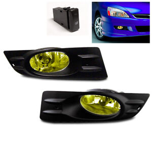 2006 2007 Honda Accord Ex Lx Coupe 2dr Bumper Driving Fog Light Lamp Yellow Pair
